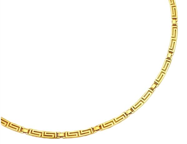Gold Greek Key Meander Necklace