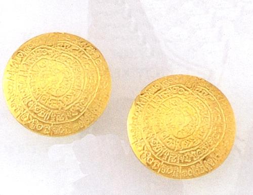 Greek Jewelry 14k Gold Earrings Disk Of Phaistos Clip