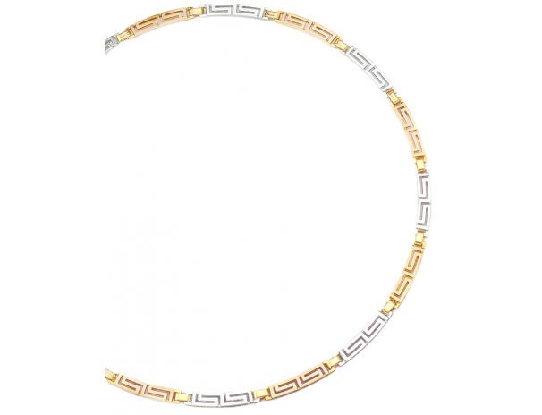 Gold & White gold Greek Key Meander Necklace