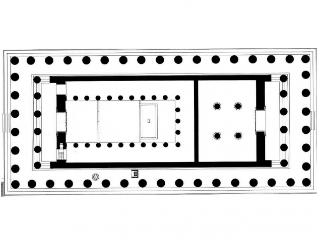 Archtectural drawing of the Parthenon