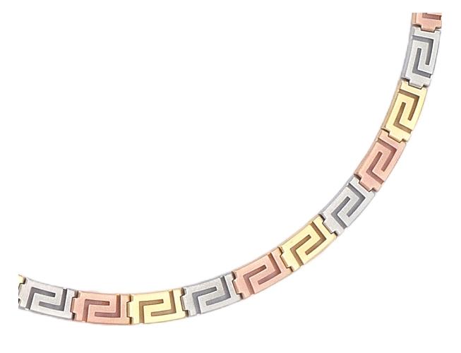 Tri Color Gold Greek Key Meander Necklace