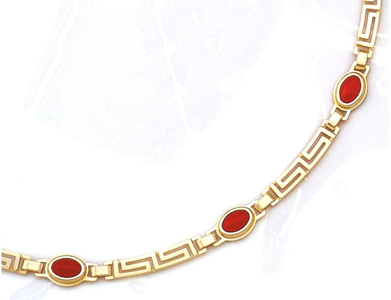 Gold Greek Key Meander Necklace with Coral stones